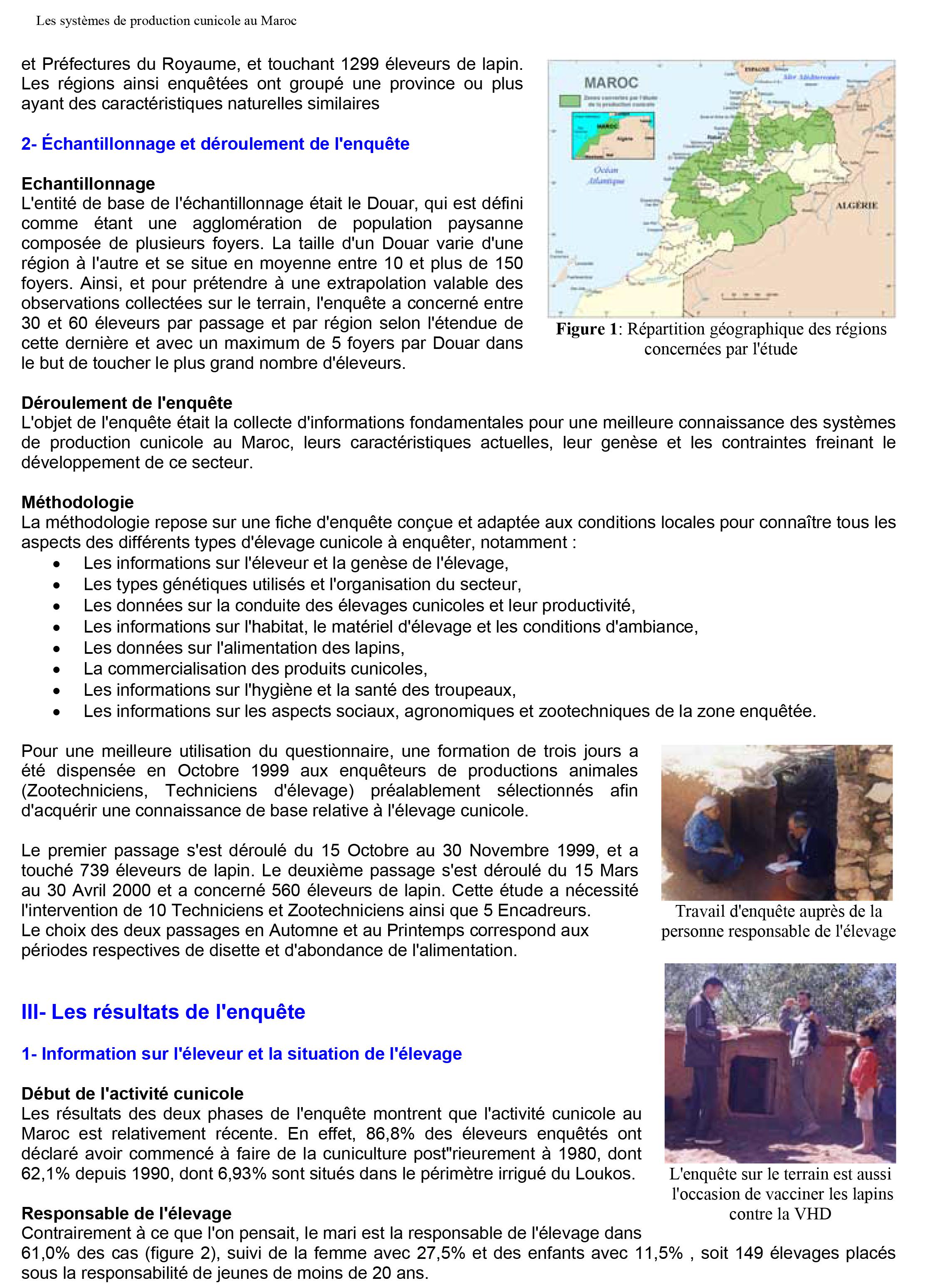 Etude sur les systèmes de production cunicole au Maroc