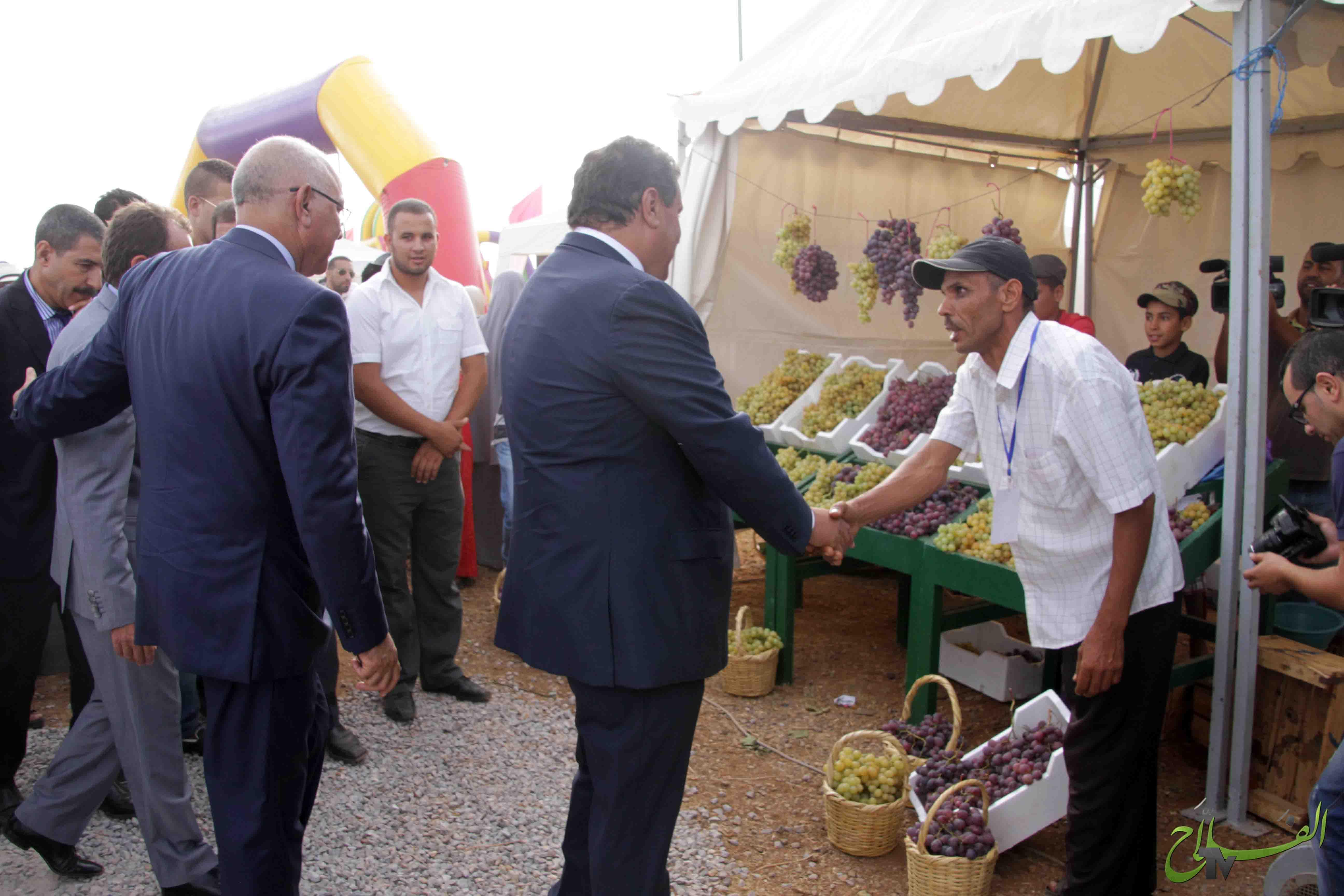 Le ministre de l'Agriculture et de la Pêche Maritime Monsieur Aziz Akhannouch Inaugure la neuvième édition du Moussem de raisin à  la commune de Cherrat,  Province de Benslimane